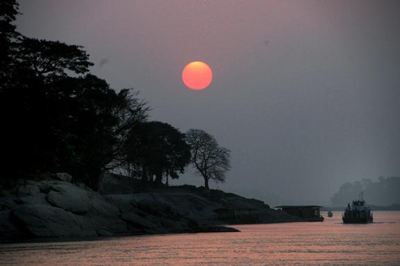 Sun sets over Brahmaputra River in Guwahati.